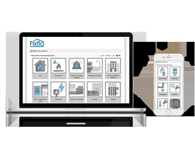 Fixflo block management - Tenant repair reporting product shot - Multiple devices