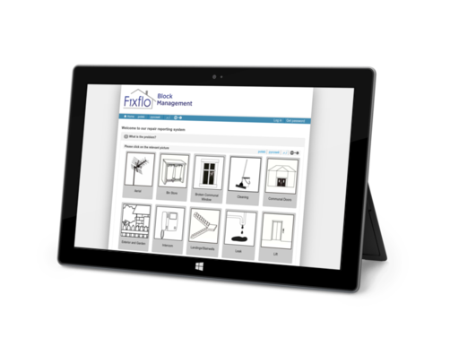 Fixflo block management - Tenant repair reporting product shot - IPad